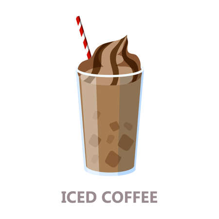 Glass of the iced coffee. Brown drink