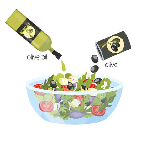 Greek salad in a bowl. Organic healthy food with olive oil. Cucumber and tomato, feta cheese and pepper. Isolated flat vector illustration