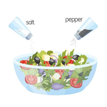 Greek salad in a bowl. Organic healthy food. Cucumber and tomato, feta cheese and pepper with salt. Isolated flat vector illustration