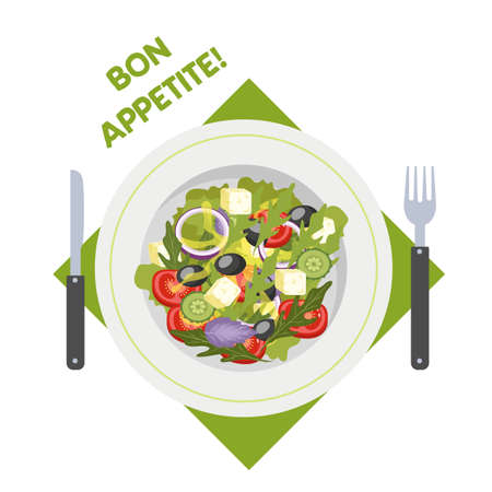 Greek salad in a plate. Organic healthy food. Cucumber and tomato, feta cheese and pepper. Isolated flat vector illustration