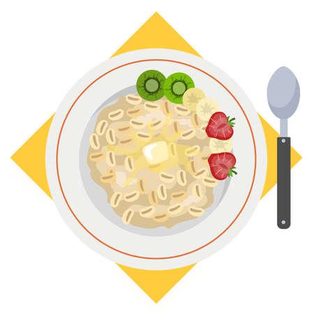 Porridge or oatmeal for breakfast. Hot plate 일러스트
