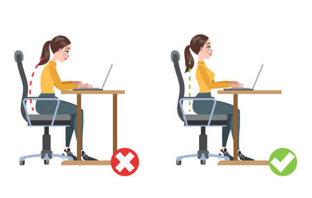 How to correct posture infographic. Incorrect pose and back pain. Wrong and right body position. Isolated flat vector illustration