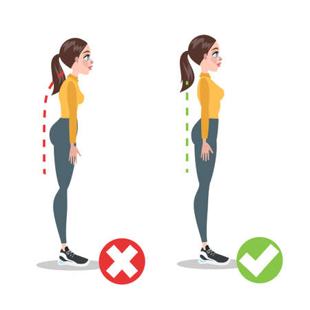 How to correct posture infographic. Incorrect pose  イラスト・ベクター素材