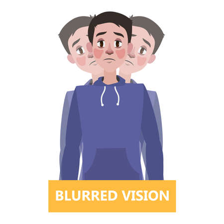 Blurred vision as a symptom of disease. Eye problem. Difficulty on focusing. Isolated flat vector illustration