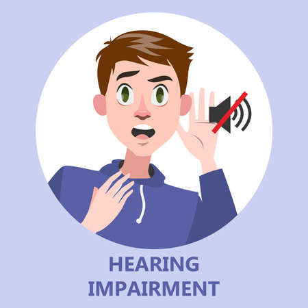 Man with hearing impairment as a symptom of disease. Deaf guy. Hear no sound. Isolated flat vector illustration