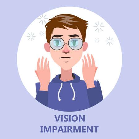 La déficience visuelle comme symptôme de la maladie Vecteurs