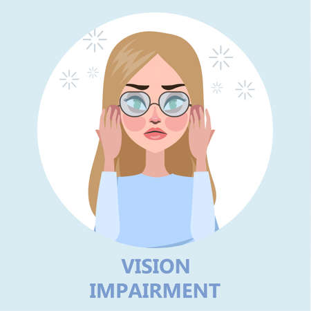 Visual impairment as a symptom of disease. Eye vision problem. Difficulty on focusing. Isolated flat vector illustration