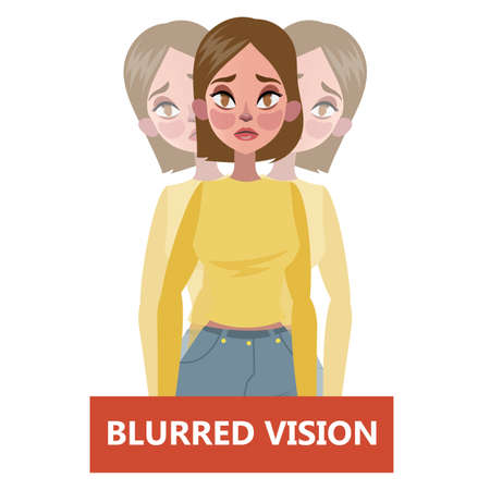 Blurred vision as a symptom of disease. Eye problem. Difficulty on focusing. Isolated flat vector illustration Vecteurs