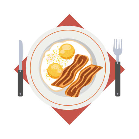 Omelette dish. Fast and easy breakfast with egg and bacon. Healthy meal. Isolated flat vector illustration