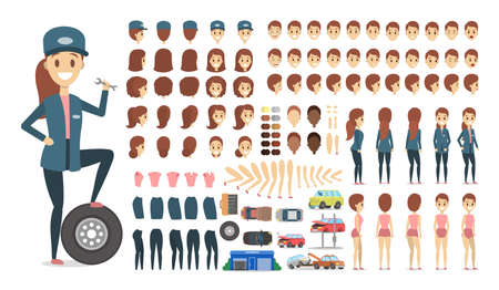 Mechanic female character in uniform set or kit for animation with various views, hairstyle, emotion, pose and gesture. Different equipment for car repair. Isolated flat vector illustration