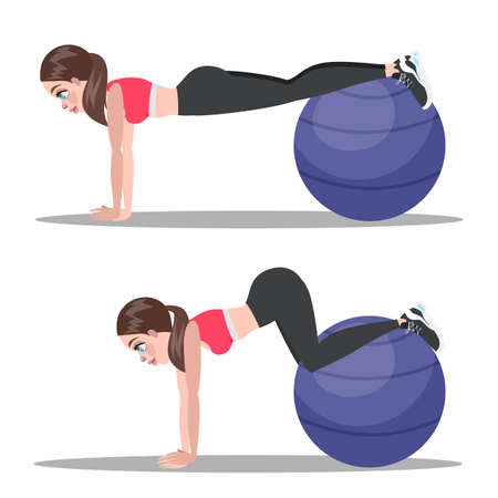 Woman doing crunches on fitness ball in the gym. Belly burn workout. Girl make exercise. ABS workout. Healthy and active lifestyle. Isolated vector illustration