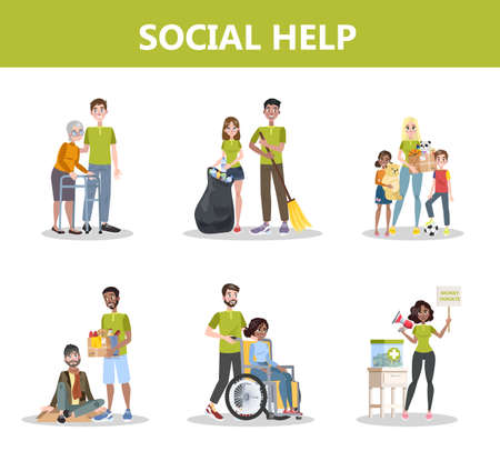 Volunteer help people set. Collection of charity Illustration