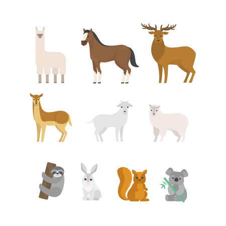 Herbivore animal set. Collection of mammal from forest. Deer and squirrel, horse and sheep. Isolated flat vector illustration Stock Illustratie