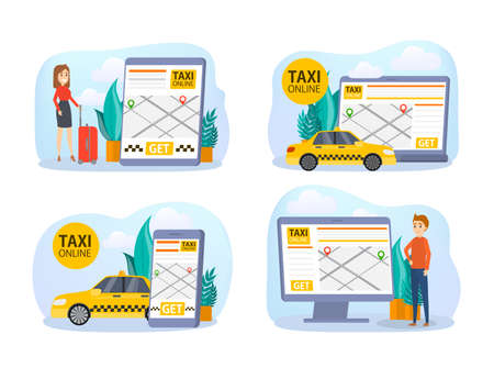 Taxi booking online set. Order car in mobile phone app. Idea of transportation and internet connection. Isolated flat vector illustration Illustration