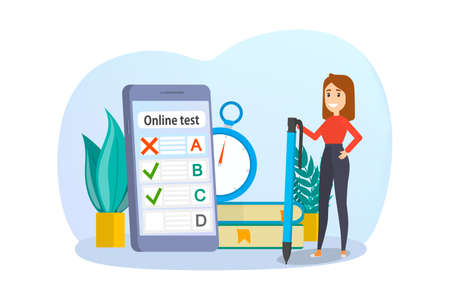 Online test concept. Quiz on the computer. Education and learning with digital device. Isolated vector illustration