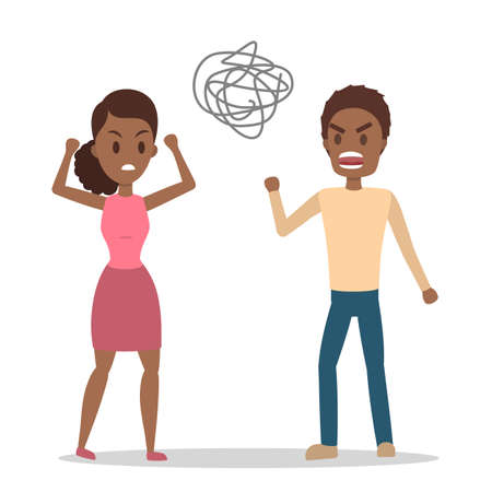 Angry african american woman yelling at her stressed boyfriend. Couple fight and argue. Man shouting in anger. Flat vector illustration