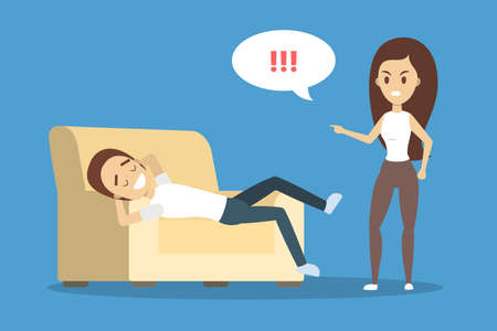 Angry woman yelling at her boyfriend. Man lying on couch in relax. Couple fight and argue. Flat vector illustration Illustration