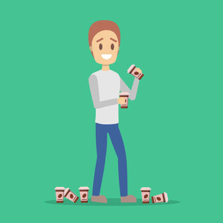 Man holding a coffee cup. Coffee addiction. Guy addicted to hot drink. Isolated vector illustration in cartoon style.