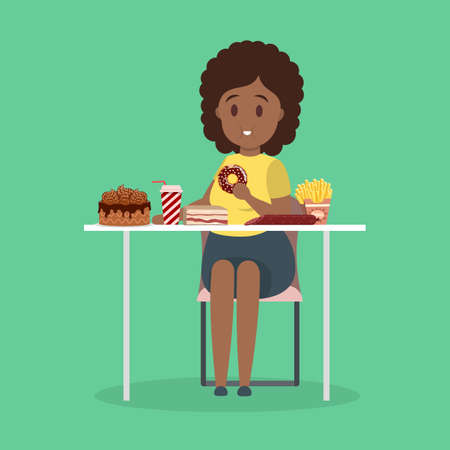 Fat woman eating fast food. Unhealthy nutrition concept. Cake and french fries for dinner. Junk food addiction. Isolated flat vector illustration Vettoriali