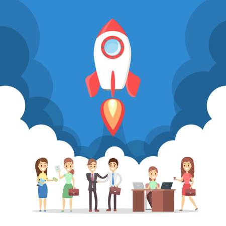 Lancement de fusée comme métaphore du démarrage. Concept de développement commercial. Notion d'entrepreneuriat. Les gens réussissent. Illustration vectorielle plane
