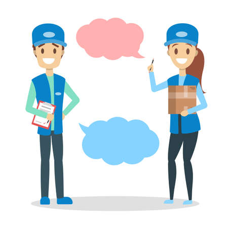 Male and female courier character in the uniform with box smiling with speech bubble above. Talk to delivery service. Isolated flat vector illustration