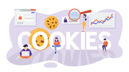 Internet cookies technology concept. Tracking website surfing. Cookies on background as metaphor. Flat vector illustration  イラスト・ベクター素材