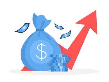 Bedrijfsfinanciën groeiconcept. Idee van geldverhoging. Investering en inkomen. Budgetwinst. Platte vectorillustratie
