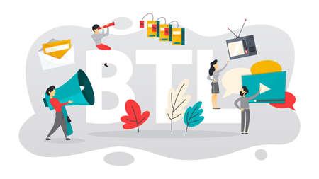 BTL ou en dessous de la ligne de communication avec le client. Stratégie marketing de promotion des produits. Offre directe à la personne. Illustration vectorielle plane isolée