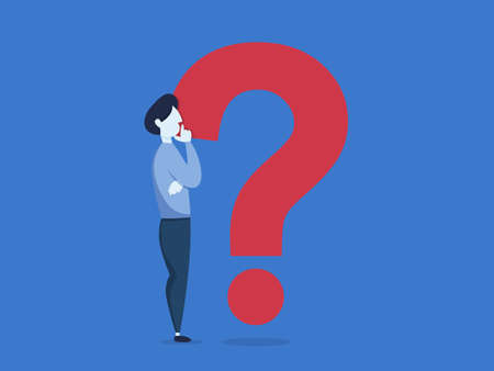 Man standing at a big question mark in confusion. Idea of support and help. Vector flat illustration Illustration