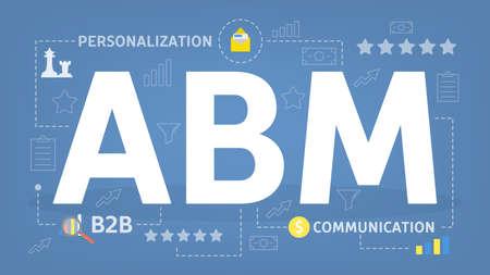 ABM o concepto de marketing basado en cuentas. Personalización y estrategia B2B. Ilustración plana vector aislado