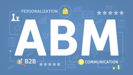 ABM or account based marketing concept. Personalization and B2B strategy. Isolated vector flat illustration