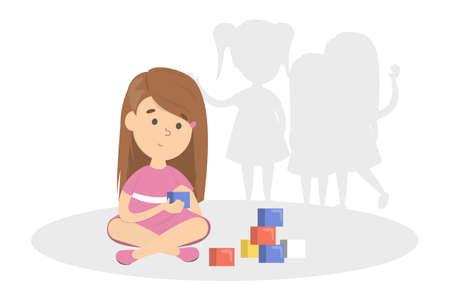 Early sign of autism. Child play alone as a symptom of mental health disease. Kid with autism sindrome. Isolated vector flat illustration