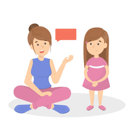 Mother talk to a little child. Parent with a kid in a friendship. Family together. Isolated vector flat illustration