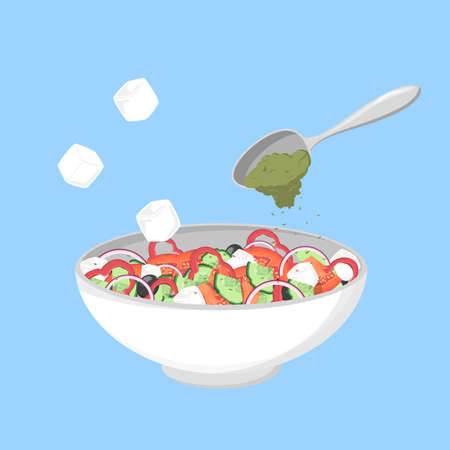Greek salad in a bowl. Organic healthy food. Cucumber and tomato, feta cheese and pepper with salt and oregano. Isolated flat vector illustration