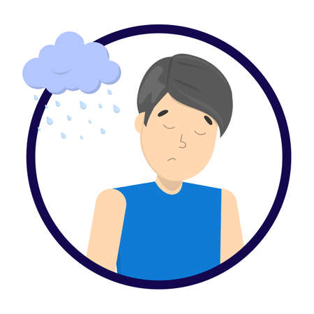 Sad depressed man with rainy cloud above as a metaphor of bad mood. Unlucky guy with desperate emotion on face. Isolated flat vector illustration