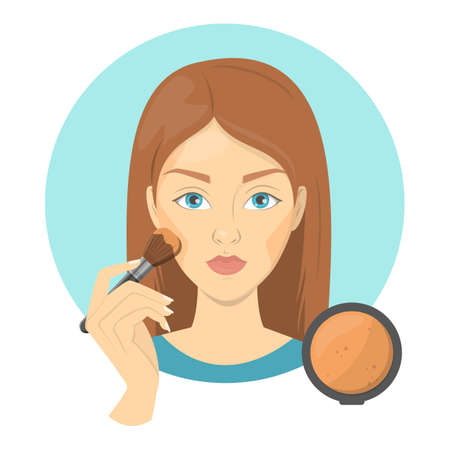 Woman applying face bronzer for perfect makeup. Beautiful girl care about skin and use bursh for cosmetic. Isolated vector illustration in cartoon style