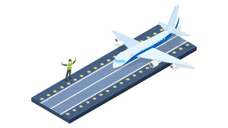 Plane take off from the airport. Runway for the airplane. Idea of departure. Isolated vector isometric illustration