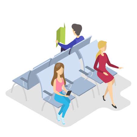 Persone in attesa nel terminal dell'aeroporto per l'imbarco. Passeggeri in zona imbarco seduti in poltrona. Illustrazione isometrica di vettore isolato