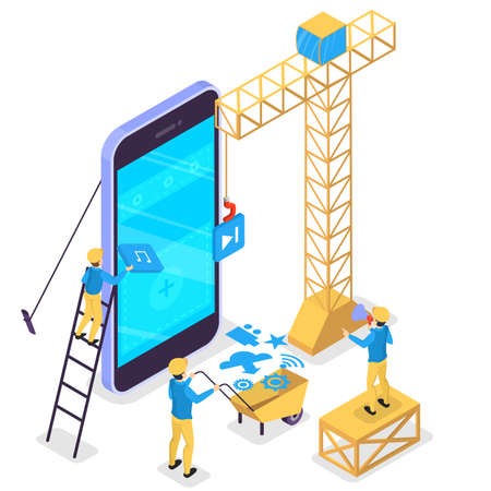 Mobile app development concept. Modern technology and smartphone interface design. Application building and programming. Construction worker at the big mobile phone. Vector isometric illustration