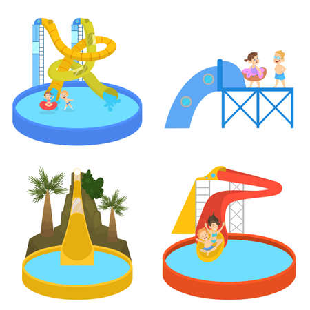 La gente se divierte en el parque acuático. Vacaciones de verano y entretenimiento en tobogán. Ocio extremo. Ilustración de vector aislado en estilo de dibujos animados