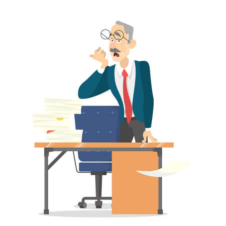 Man at the desk with pile of document on it. Tired worker in stress. Idea of deadline. Isolated vector illustration in cartoon style
