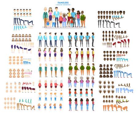 Gran conjunto de personajes familiares para la animación con varias vistas, peinado, emoción, pose y gesto. Madre, padre e hijos afroamericanos. Ilustración de vector aislado en estilo de dibujos animados