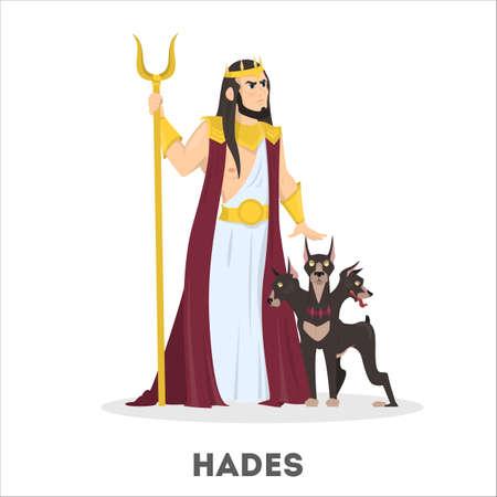 Hades greek god with dog. Ancient history Illustration