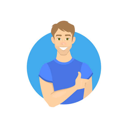 Portrait of young man. Beautiful handsome boy avatar. Guy smiling. Male character. Isolated vector illustration