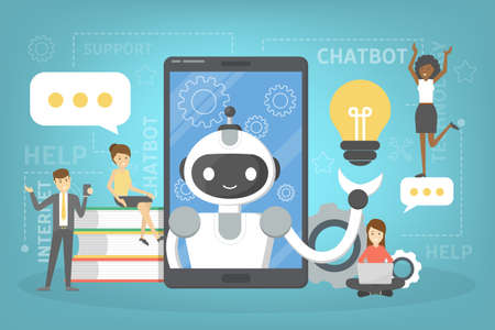 Talking to a chatbot online on smartphone. Communication with a chat bot. Customer service and support. Artificial intelligence concept. Isolated vector flat illustration