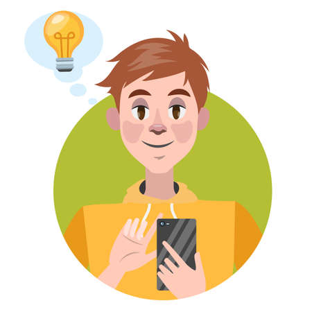 Man holding mobile phone and have idea. Person with smartphone. Vector illustration in cartoon style