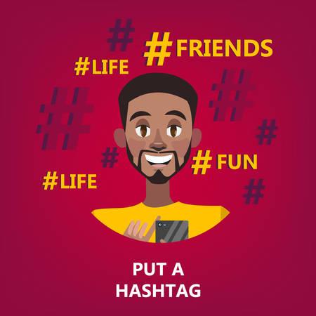 Hashtag concept. Idea of social media and post Illustration