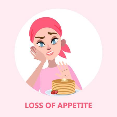 Frau mit Nahrungsmittelabneigung oder Essstörung. Mädchen lehnen Fastfood ab. Krankheitssymptom. Ungesunde Ernährung. Isolierte flache Vektorillustration