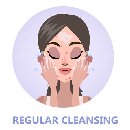 Face cleansing for skin beauty. Woman washing Illustration
