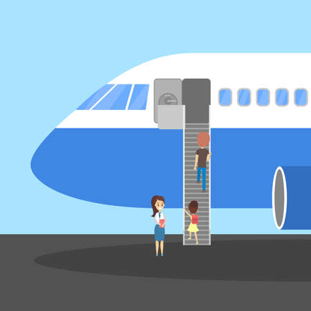 People stand at the plane in airport. Board on the airplane. Idea of air transportation. Flat vector illustration